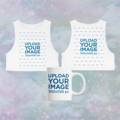 Merch Bundle Mockup Featuring Both Sides of a Crop Top Tee and a Coffee Mug 43410-r-el2