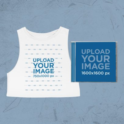 Merch Bundle Mockup Featuring a Sleeveless Crop Top T-Shirt with a CD 43406-r-el2