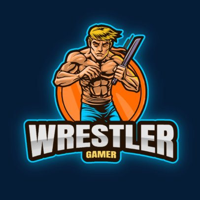 Gaming Logo Template Featuring a Wrestler Graphic 2939c-el1