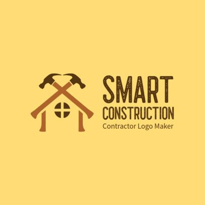 Logo Template for Contractors with a House Clipart 3696h