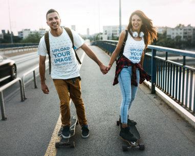 Tank Top and T-Shirt Mockup of a Couple Skating 42157-r-el2