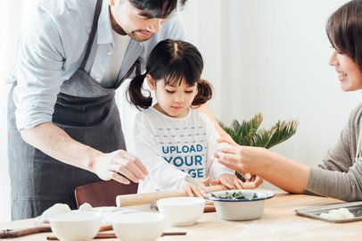Long-Sleeve Tee Mockup of a Little Girl Baking with Her Parents 41999-r-el2