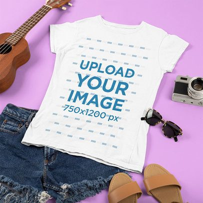 T-Shirt Mockup Featuring a Ukulele and a Women's Outfit 43292