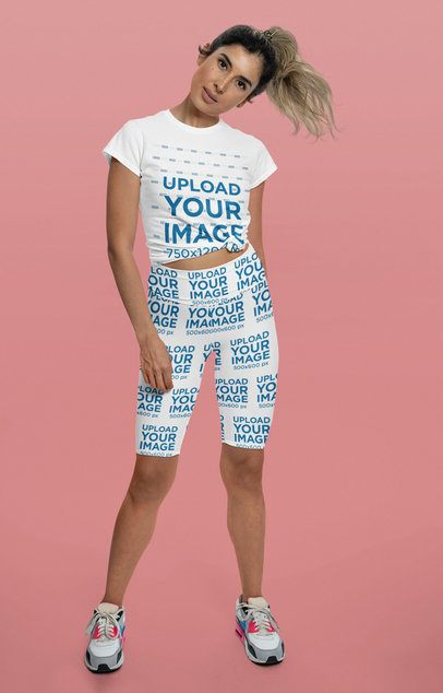 Sublimated Bike Shorts Mockup of a Woman Wearing a Knotted T-Shirt at a Studio 42304