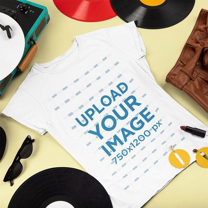 T-Shirt Mockup Featuring Items of a Female Music Fan 43295