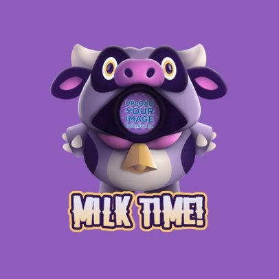 Emote Logo Generator Featuring a Cow Inspired by Fall Guys 3690c