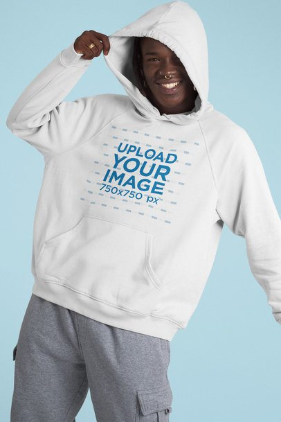 Mockup of a Playful Man Wearing a Pullover Hoodie 42980
