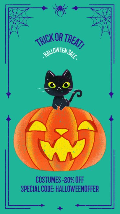 Illustrated Instagram Story Design Maker for a Halloween Costume Sale 2965d