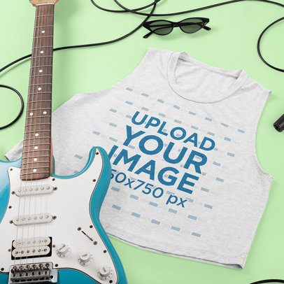 Mockup of a Heathered Sleeveless Crop Top Featuring a Guitar 43284
