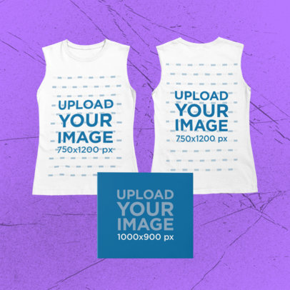 Merch Bundle Mockup of a Both Sides-View Sleeveless T-Shirt and a Digipak 43391-r-el2
