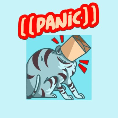 Gaming Twitch Emote Logo Creator Featuring a Panicking Cat Illustrations 3674b