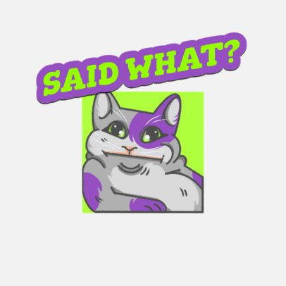 Twitch Emote Logo Template Featuring a Confused Cat Illustration 3674e