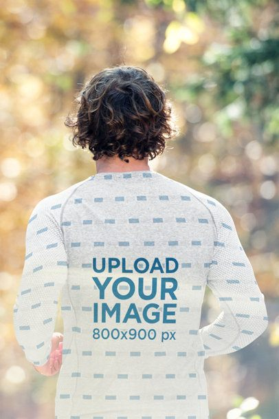 Back View Mockup of a Man with a Sublimated Long-Sleeve Tee Running 43532-r-el2