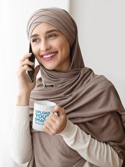 11 oz Mug Mockup of a Woman with a Hijab Talking on the Phone 43502-r-el2