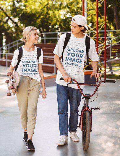 T-Shirt Mockup of Two Teens at a Skatepark 42156-r-el2