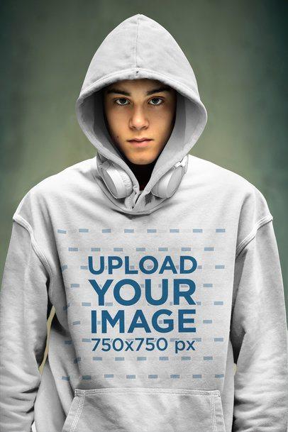 Mockup of a Serious Teenager Wearing a Pullover Hoodie 40427-r-el2