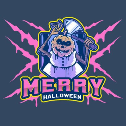 Online Gaming Logo Creator with a Creepy Snowman with a Pumpkin Head 3711a