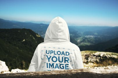 Back View Hoodie Mockup Featuring a Man Admiring the Mountains 41098-r-el2