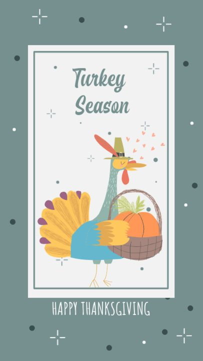Instagram Story Maker with an Illustrated Turkey Carrying a Food Basket 2948a-el1