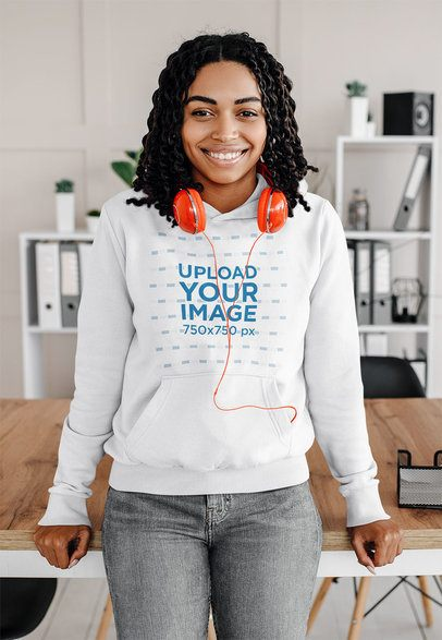 Mockup of a Young Woman with Curly Hair Wearing a Hoodie at Home 39072-r-el2