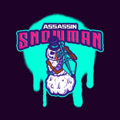 Logo Creator for a Gaming Team Featuring a Snowman with a Bazooka 3711m