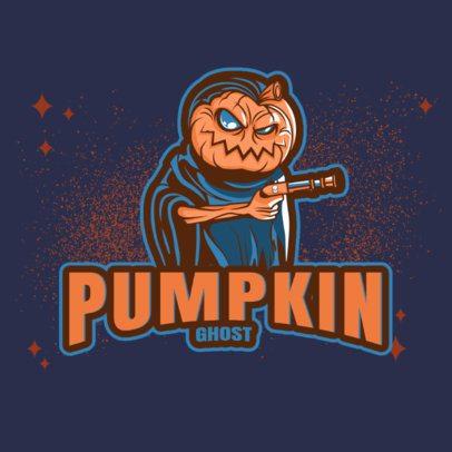 Gaming Logo Template Featuring an Armed Pumpkin Character 3711d