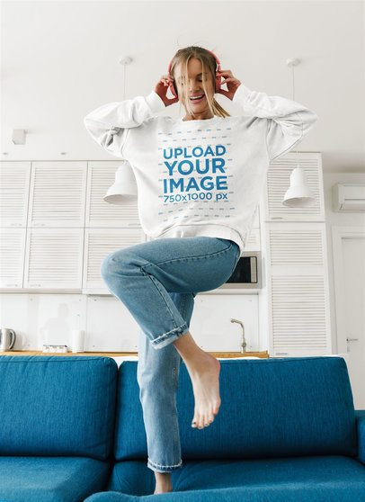 Mockup of a Woman With a Crewneck Sweatshirt Dancing With Headphones on 40247-r-el2