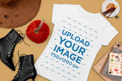 Halloween Mockup of a Flat Laid Tee Featuring Witch Costume Items m103