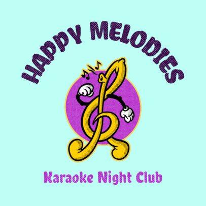Karaoke Club Logo Generator Featuring a G-Clef Cartoon 3735k
