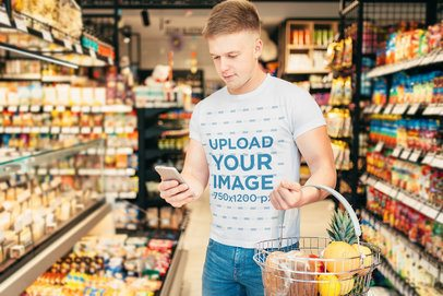 T-Shirt Mockup Featuring a Man Shopping for Groceries 37538-r-el2