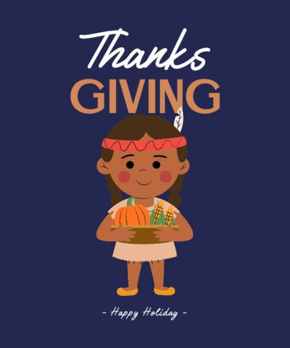 T-Shirt Design Creator with a Girl Holding a Thanksgiving Basket 3009c