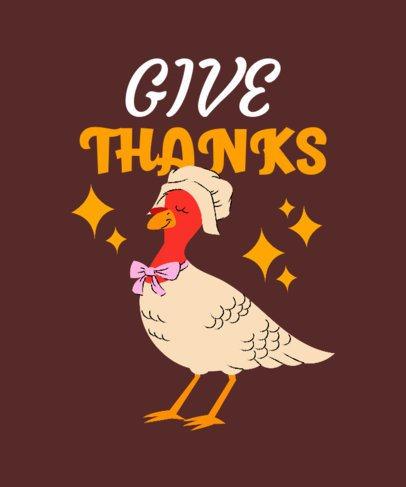 Thanksgiving-Themed T-Shirt Design Generator with a Turkey Illustration 3009b