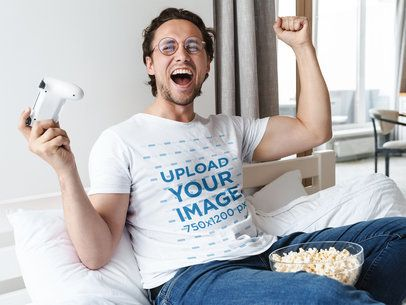 T-Shirt Mockup of a Gamer Celebrating a Victory 40314-r-el2