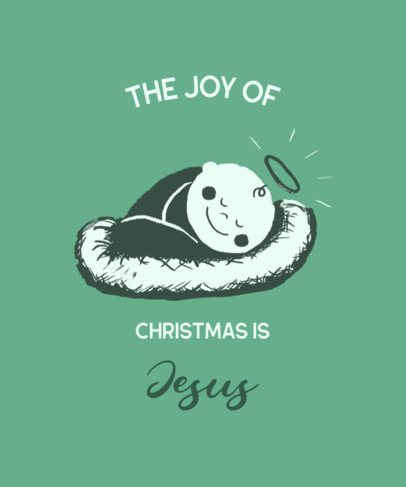 Christmas T-Shirt Design Template Featuring a Baby Jesus Illustration 3014d