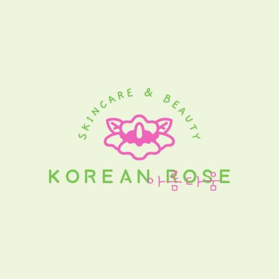 Korean Skincare Brand Logo Template with a Flower Graphic 3728b