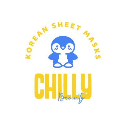 Korean Beauty Mask Dropshipping Logo Maker with a Penguin Graphic 3728f