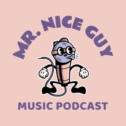 Illustrated Logo Maker for a Music-Related Podcast with a Microphone Character 3735j