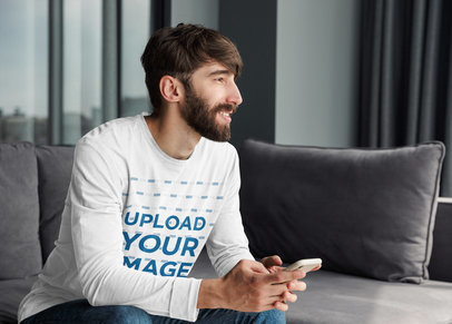 Long Sleeve Tee Mockup Featuring a Bearded Man at Home 39550-r-el2