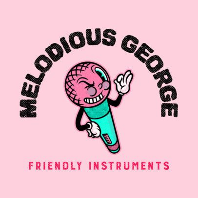 Logo Maker for a Music Instruments Store with a Funny Microphone 3735k