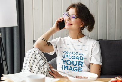 Round Neck T-Shirt Mockup of a Smiling Woman Talking on the Phone 39777-r-el2
