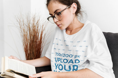 Oversized T-Shirt Mockup Featuring a Woman Reading 39707-r-el2