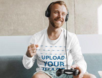 Long Sleeve T-Shirt Mockup of a Man Playing Video Games at Home 41733-r-el2