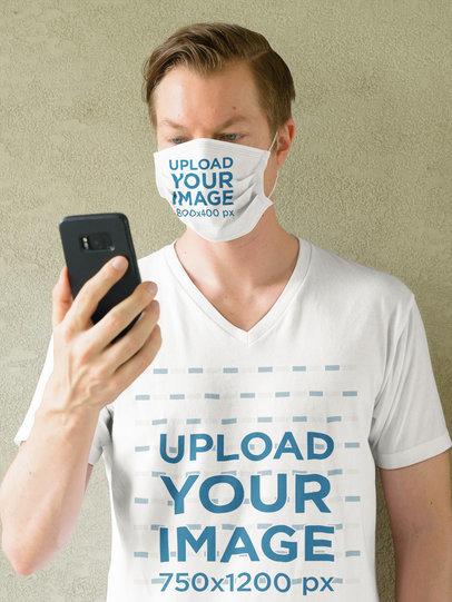 Face Mask Mockup of a Man Wearing a V-Neck T-Shirt 44020-r-el2