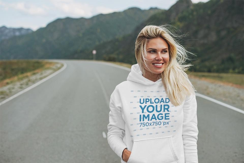 Hoodie Mockup of a Happy Woman in a Highway 43766-r-el2