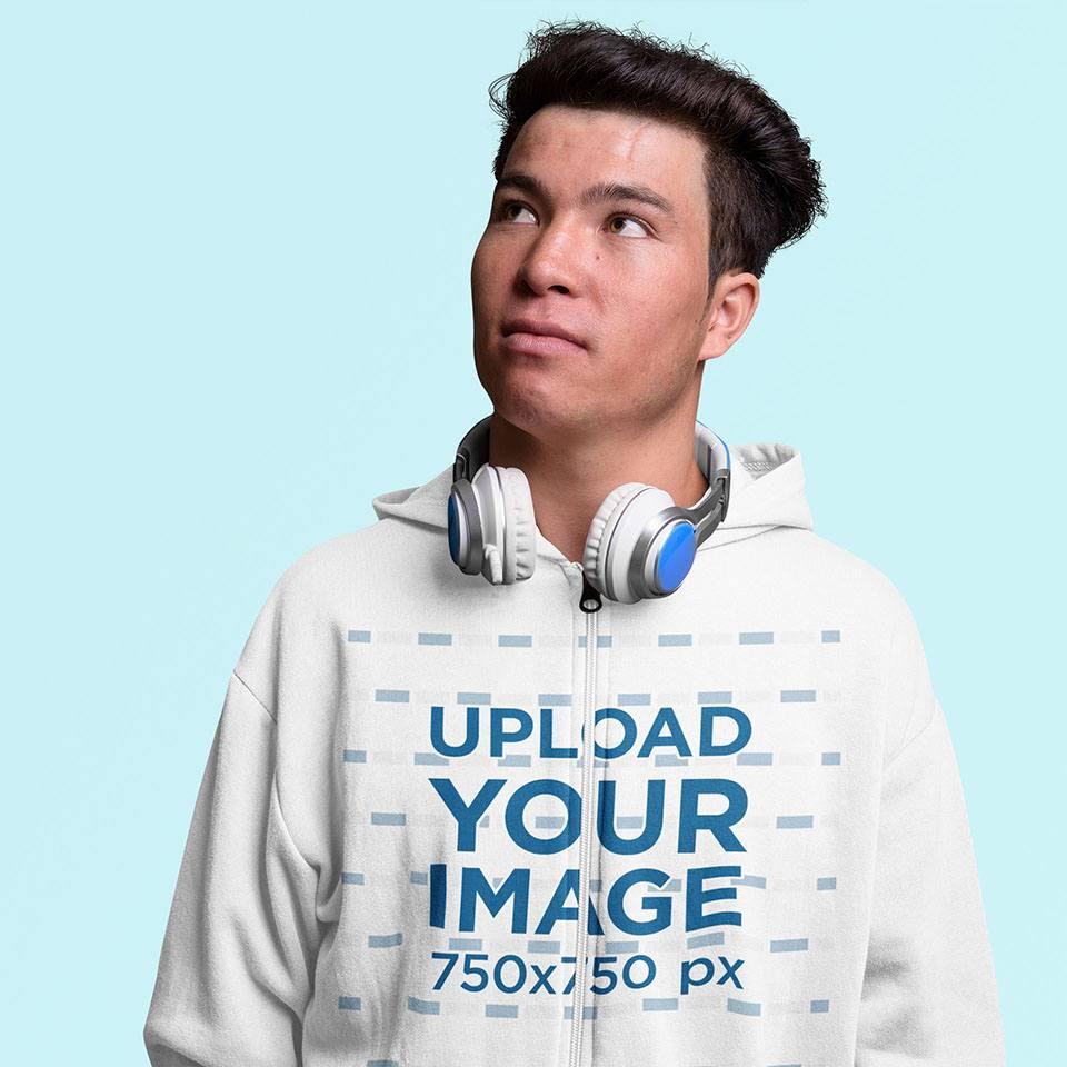 Full-Zip Hoodie Mockup of a Man with Headphones in a Studio 40033-r-el2