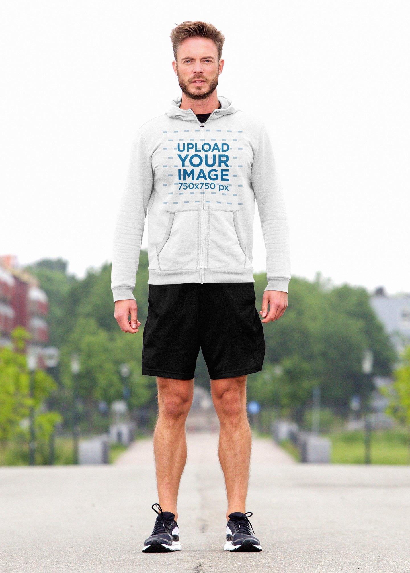 Full-Zip Hoodie Mockup Featuring a Man Ready to Jog 39996-r-el2