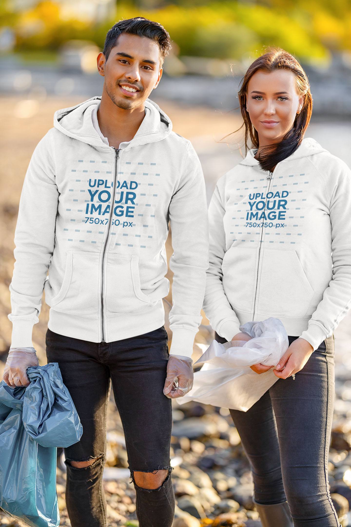 Hoodie Mockup of a Man and a Woman Cleaning a Beach 43839-r-el2