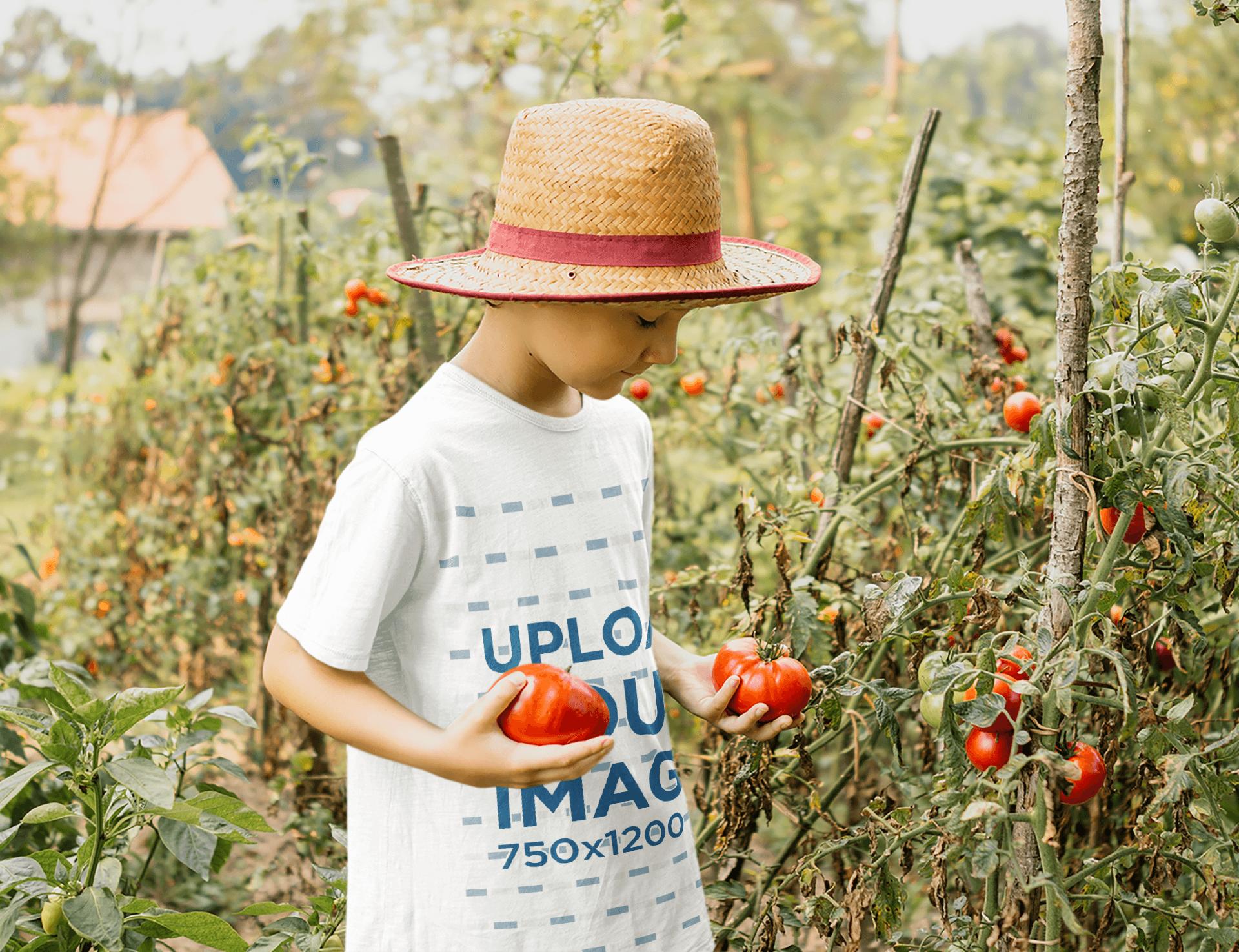 T-Shirt Mockup of a Boy Harvesting Tomatoes 35595-r-el2