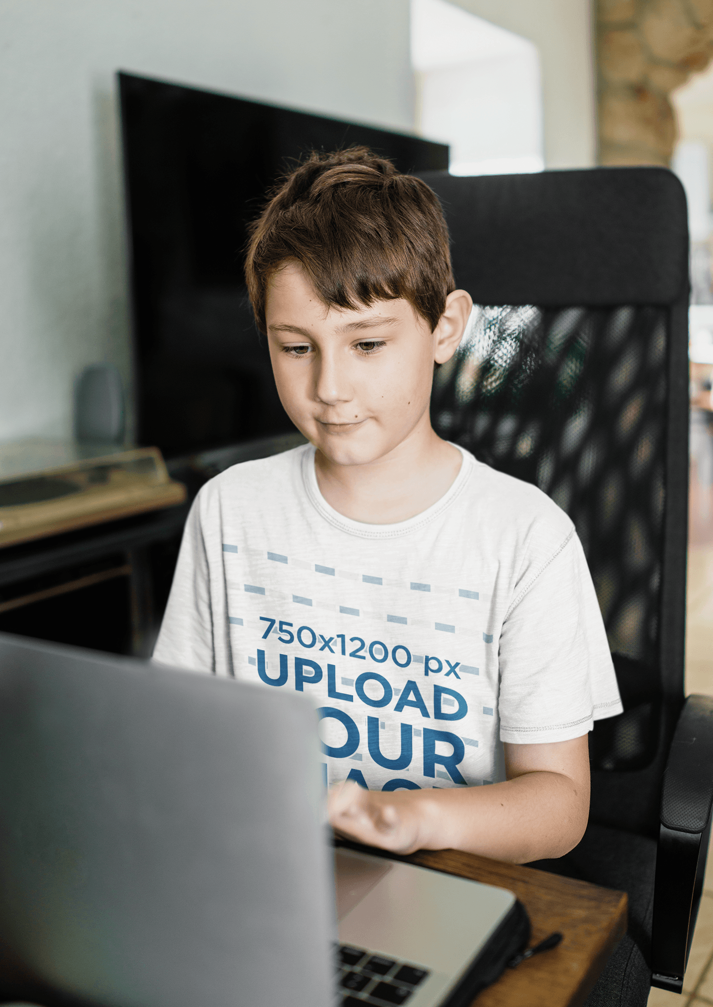 T-Shirt Mockup of a Kid Writing in a Computer 39918-r-el2