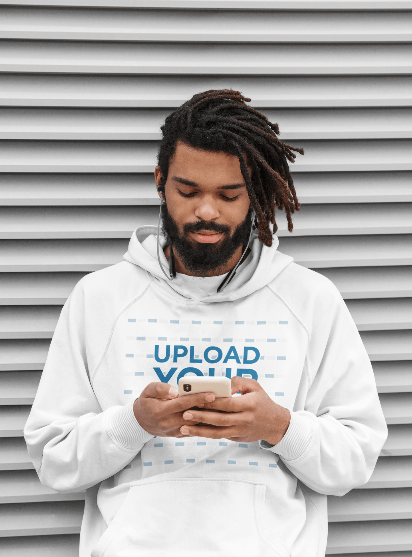 Pullover Hoodie Mockup of a Serious Bearded Man Listening to Music 42627-r-el2